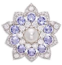 Nadri Aqua Stone, Faux Pearl & Bead Medallion Pin