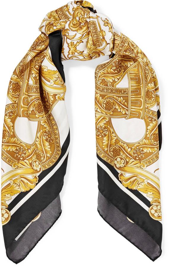 VersaceVersace Printed silk-satin twill scarf