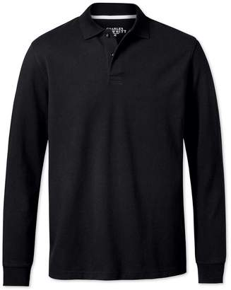 Charles Tyrwhitt Black Pique Long Sleeve Cotton Polo Size Medium