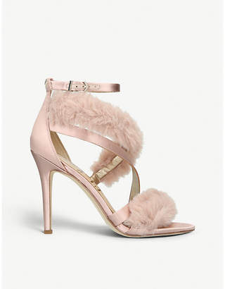 Sam Edelman Adelle satin and faux-fur heeled sandals