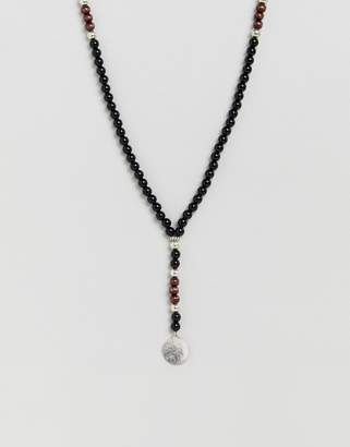 Aldo Beaded Necklace With Triangle Pendant In Black