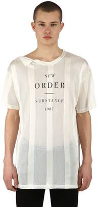 Raf Simons New Order Print Striped Viscose T-Shirt
