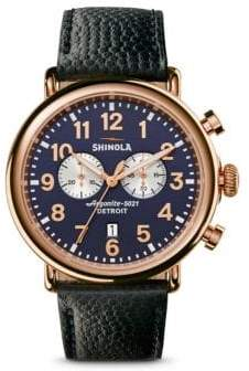 Shinola Runwell Chronograph PVD Rosegold Leather Strap Watch