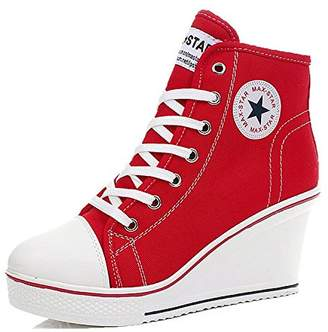 44debcaada53 at Amazon Canada · Padgene Women s Sneaker High-heeled Fashion Canvas Shoes  High Pump Lace UP Wedges Side Zipper