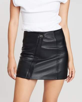 Reiss Turnlock Leather Mini Skirt