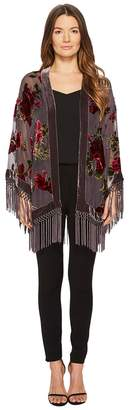 The Kooples Short Kimono with Embroidered Silver Dragon and Sequins
