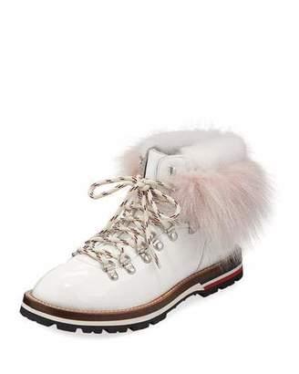 Moncler Fur-Trim Patent Leather Hiker Boots