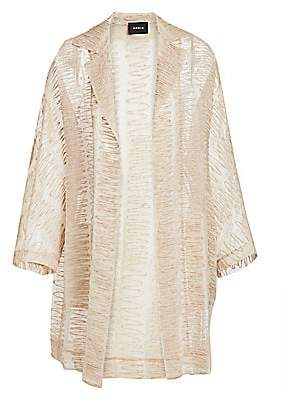 Akris Women's Badia Scribble Embroidered Silk-Blend Coat