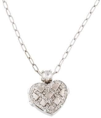 18K Diamond Heart Locket Pendant Necklace