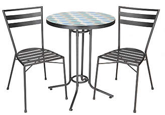 suri 2 seater mosaic bistro garden table and chairs set multi