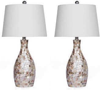 Mother of Pearl Abbyson Living Set Of Two 26In Table Lamps