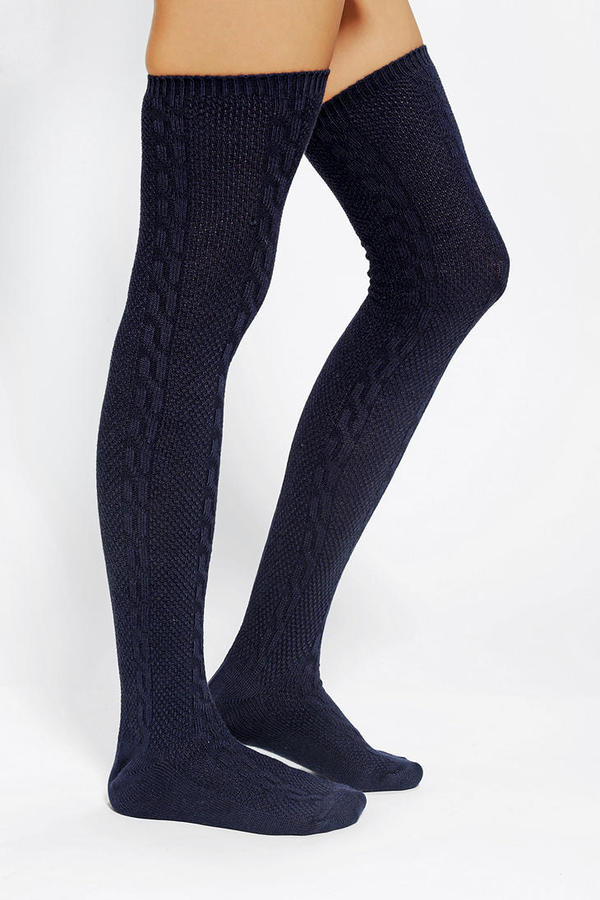 Urban Outfitters Textured Cable Thigh-High Sock