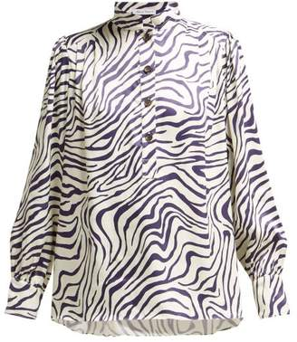 Bella Freud Bus Stop Okavango Print Satin Blouse - Womens - White Navy
