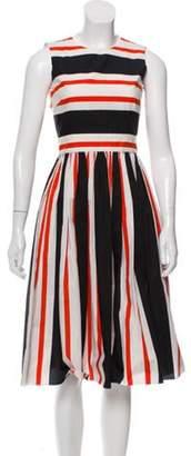 Dolce & Gabbana Sleeveless Striped Dress White Sleeveless Striped Dress