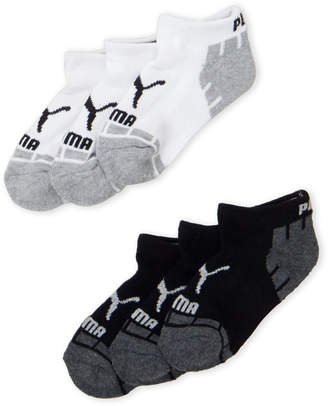 Puma Boys 4-7) 6-Pack White & Black Terry Low-Cut Socks