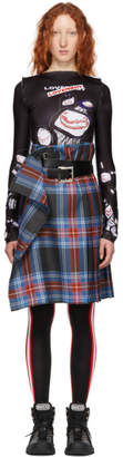 Charles Jeffrey Loverboy Blue and Red Check Kilt Skirt
