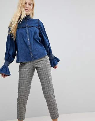 Asos DESIGN denim shirred shirt with frill detail in indigo