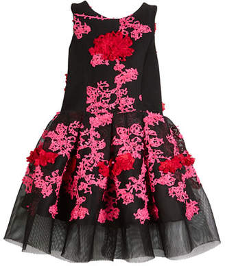 Mila Louise Zoe Perforated Knit Floral-Embroidery Holiday Dress, Size 7-16
