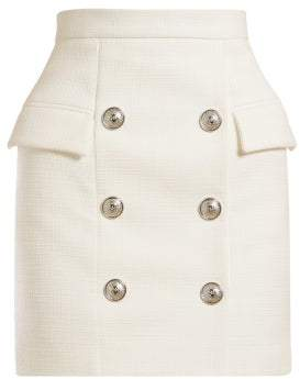 Balmain High Waist Tweed Mini Skirt - Womens - White