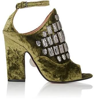 Samuele Failli Women's Maya Velvet Halter Sandals - Md. Green Size 7
