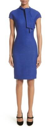 Women's St. John Collection Sheen Tape Knit Tie Neck Dress $995 thestylecure.com