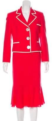 Valentino Wool Notch-Lapel Skirt Suit