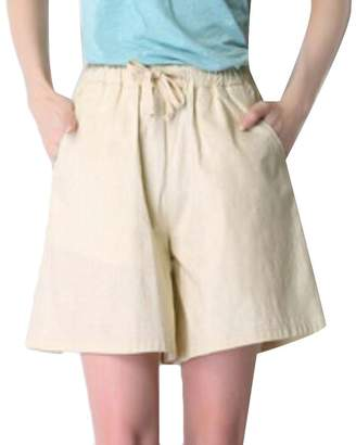 Cromoncent Womens Relaxed-Fit Candy Color Casual Linen Sport Walking Shorts
