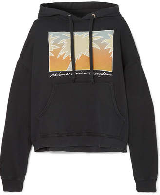 RE/DONE Oversized Printed Cotton-jersey Hooded Sweatshirt - Black