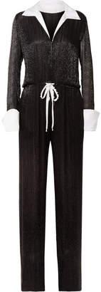 Naeem Khan Satin-trimmed Embellished Tulle Jumpsuit - Black