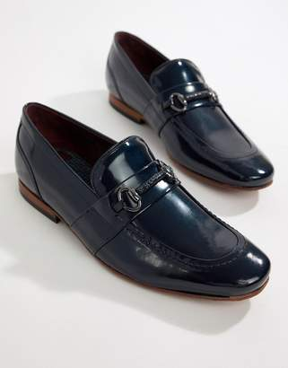 Ted Baker Paiser embossed loafers in patent navy leather