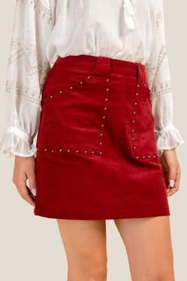 Jordan Cord Mini Skirt - Brick