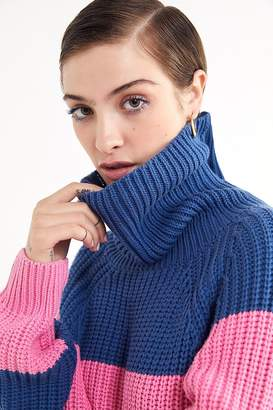 Lazy Oaf Striped Turtleneck Sweater Dress