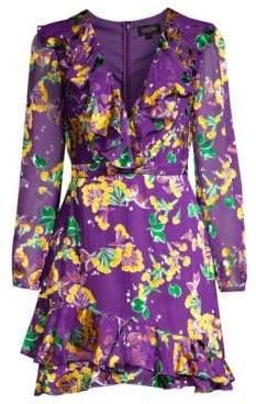 Saloni Jodie Silk-Blend Floral Dress