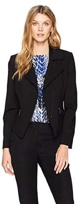 Kasper Women's Compression Ponte Zipper Front Jacket
