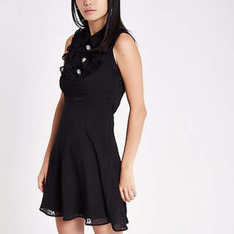 River Island Black rhinestone button occasion mini dress