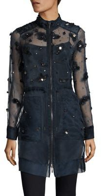 Elie Tahari Nicolette Embellished Silk Organza Anorak $598 thestylecure.com