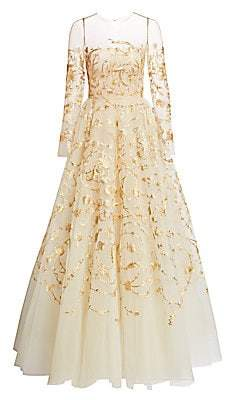 Oscar de la Renta Women's Goldtone Embroidered Illusion Tulle Gown