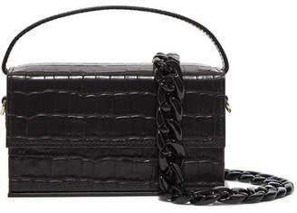 L'AFSHAR - Ida Croc-effect Leather Clutch - Black