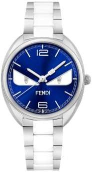 Fendi Momento Bug Diamond, Stainless Steel& Ceramic Bracelet Watch
