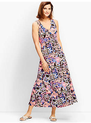 Talbots Casual Jersey Maxi Dress - Scroll Print