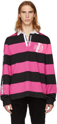 Opening Ceremony Pink and Black Striped Rugby Polo