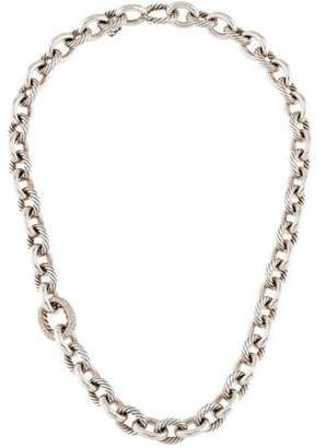 David Yurman Diamond Large Oval Link Necklace