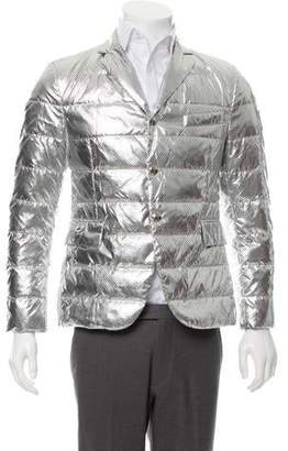 Moncler Gamme Bleu Metallic Perforated Down Sport Coat w/ Tags