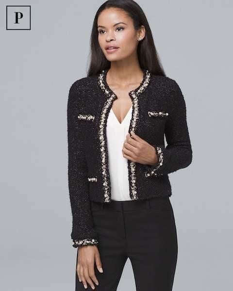 Whbm Petite Faux Pearl-Detail Sweater Jacket