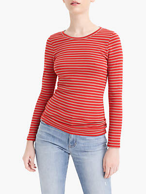 J.Crew Perfect Fit Stripe Long Sleeve T-Shirt, Bright Cerise