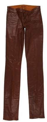 J Brand Mid-Rise Straight-Leg Waxed Jeans