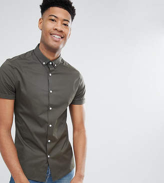 Asos TALL Skinny Shirt In Khaki With Button Down Collar