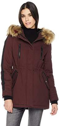 Co The Portland Plaid Women's Long Military Parka with Detachable Hood Fur Trims S Black