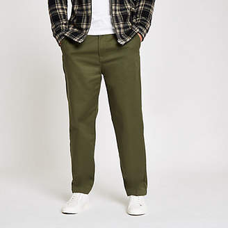 River Island Lee dark green relaxed chino pants