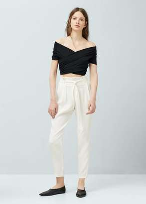 Mango Outlet MANGO OUTLET Bow Crepe Trousers $79.99 thestylecure.com